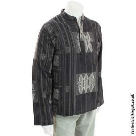 Black-Heavy-Cotton-Patterned-Grandad-Shirt