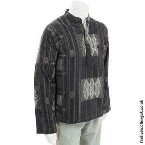 Black-Heavy-Cotton-Patterned-Grandad-Shirt