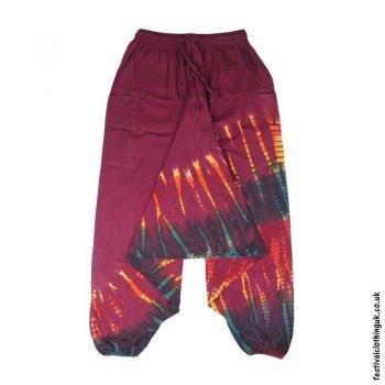 Burgundy-Tie-Dye-Ali-Baba-Harem-Festival-Trousers