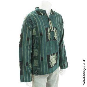 Green-Heavy-Cotton-Patterned-Grandad-Shirt