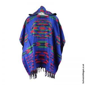 Hooded-Acrylic-Wool-Festival-Poncho-Blue