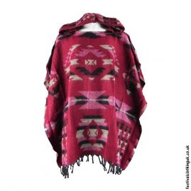 Hooded-Acrylic-Wool-Festival-Poncho-Red
