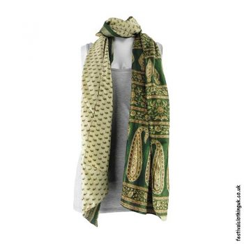 Recycled-Indian-Sari-Festival-Scarf-Green