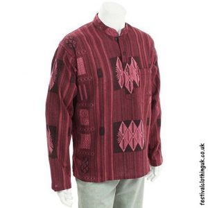 Red-Heavy-Cotton-Patterned-Grandad-Shirt
