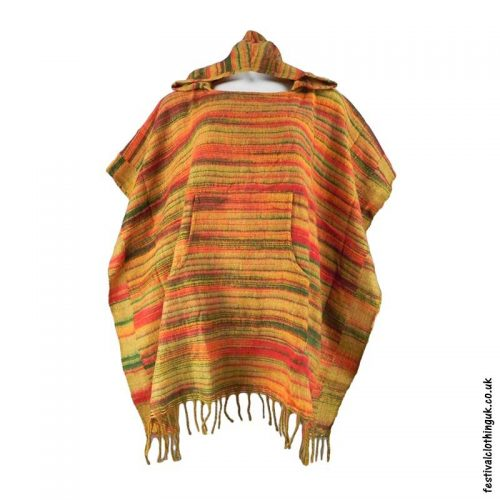 Orange-Soft-Acrylic-Hooded-Festival-Poncho
