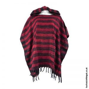 Red-Soft-Acrylic-Hooded-Festival-Poncho