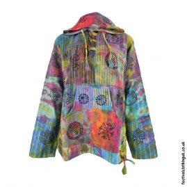 Multicoloured-Patchwork-Hooded-Tie-Dye-Top