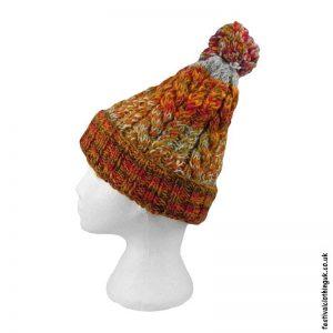 Orange-Wool-Bobble-Hat