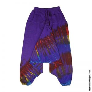 Purple-Tie-Dye-Ali-Baba-Harem-Festival-Trousers