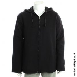 Black Cotton Hooded Fleece Lined Festival Jacket