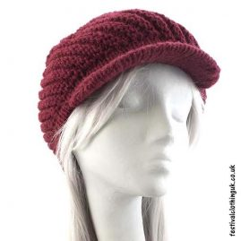 Burgundy-Peaked-Wool-Hat