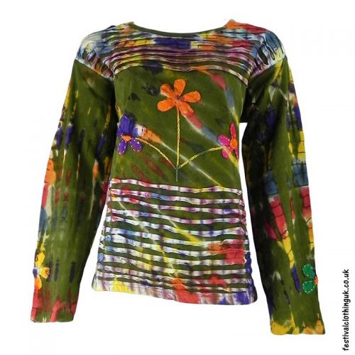Green-Long-Sleeve-Flower-Festival-Top