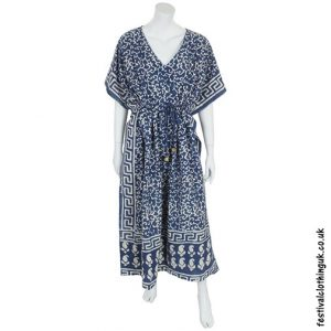 Long Blue Batik Cotton Kaftan