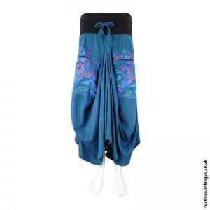 Long-Blue-Embroidery-Flower-Balloon-Skirt