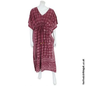 Long Burgundy Batik Cotton Kaftan