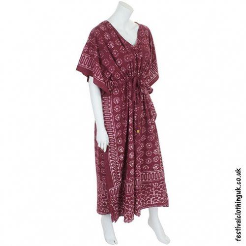 Long Burgundy Batik Cotton Kaftan side