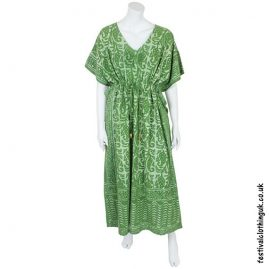 Long Green Batik Cotton KaftanLong Green Batik Cotton Kaftan