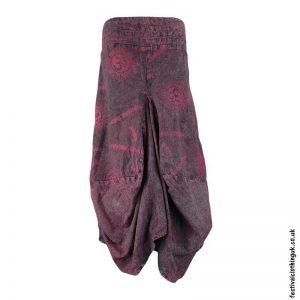 Long-Om-Print-Burgundy-Balloon-Skirt