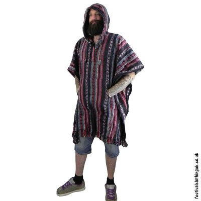 Mens-cotton-Poncho,-festival-clothing