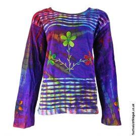 Purple-Long-Sleeve-Flower-Festival-Top