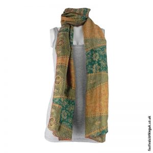 Recycled-Indian-Sari-Festival-Scarf-Green-Orange