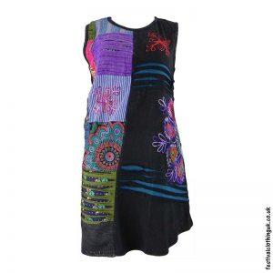 Short-Patchwork-Embroidery-Festival-Dress-Black