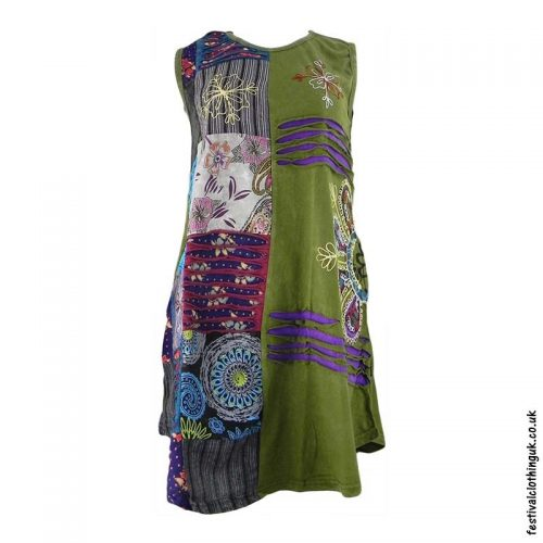 Short-Patchwork-Embroidery-Festival-Dress-Green