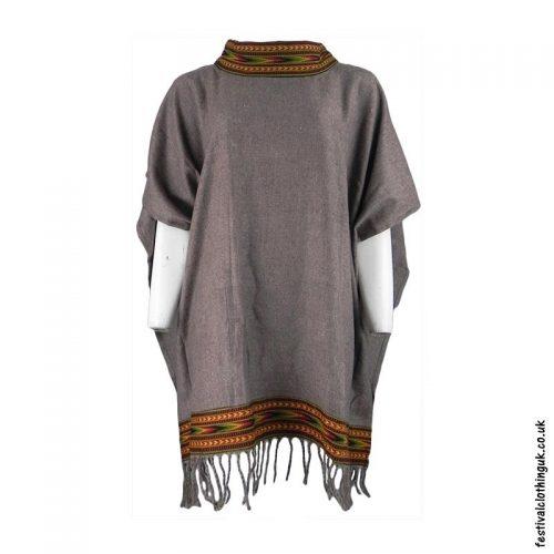 Brown-High-Neck-Acrylic-Blanket-Festival-Poncho