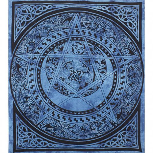 Dyed-Blue-Pentagram-Festival-Throw-Front