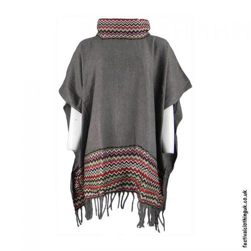 Grey-High-Neck-Acrylic-Blanket-Festival-Poncho