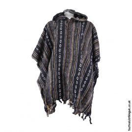 Hooded-Cotton-Festival-Poncho-Brown-Black