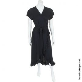 Long Over-Wrap Dress Black