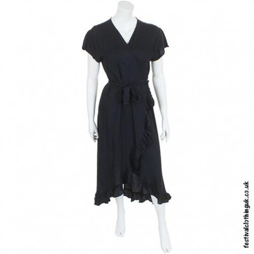 Long Over-Wrap Dress Black
