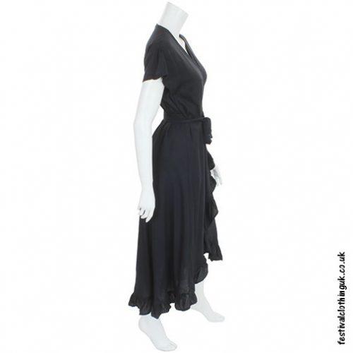 Long Over-Wrap Dress Black Side