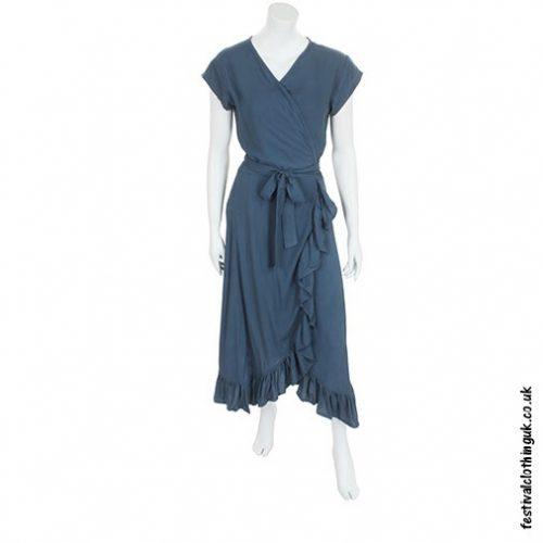 Long Over-Wrap Dress Grey