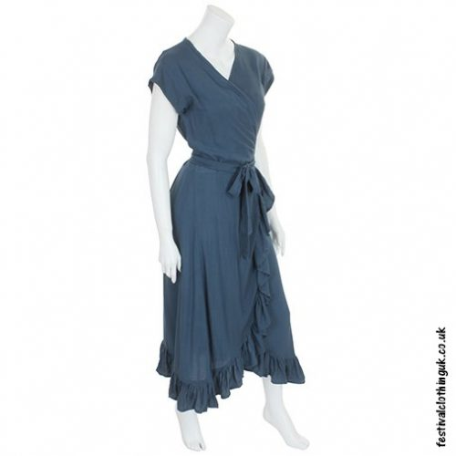 Long Over-Wrap Dress Grey Side