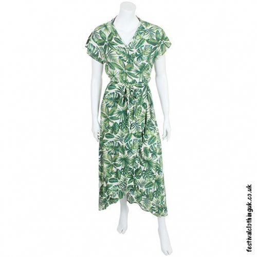 Long Over Wrap Dress Leaves FrontLong Over Wrap Dress Leaves Front