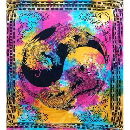 Multicoloured Tie Dye Yin Yang Dragon Festival Throw 1