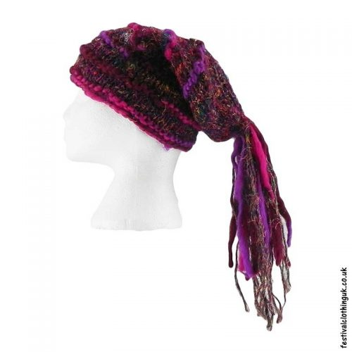 Recycled-Silk-Festival-Hat-with-Wool-Tassels-Pink-Purple
