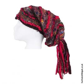 Recycled-Silk-Festival-Hat-with-Wool-Tassels-Red