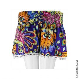 Ladies-Festival-Shorts-with-Pom-Poms-Tropical-Purple