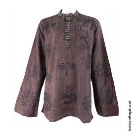 Printed-Pattern-Festival-Grandad-Shirt-Brown