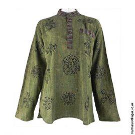 Printed-Pattern-Festival-Grandad-Shirt-Green