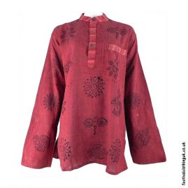 Printed-Pattern-Festival-Grandad-Shirt-Red