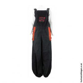 Festival-Dungarees-with-Flower-Design-Black