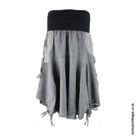 Grey-Tie-up-Short-Skirt