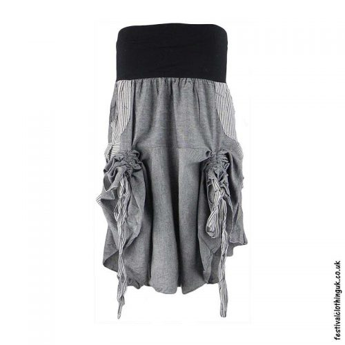 Grey-Tie-up-Short-Skirt-Tied