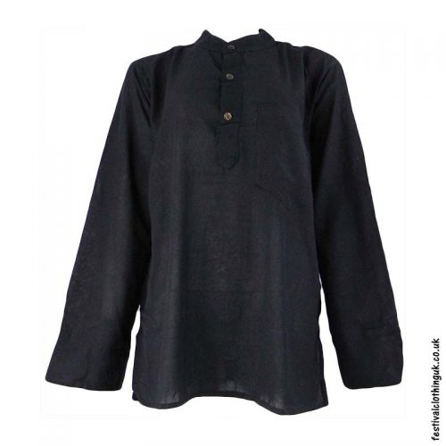 Plain-Festival-Grandad-Shirt-Black