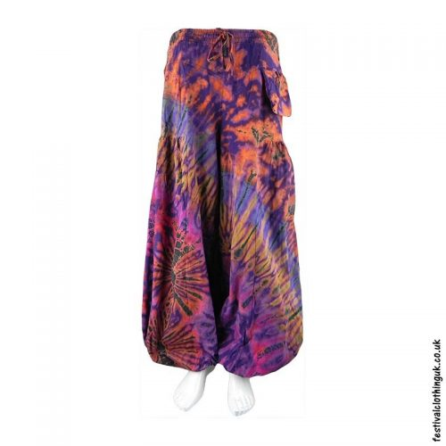 Purple-Tie-Dye-Baggy-Cotton-Festival-Trousers