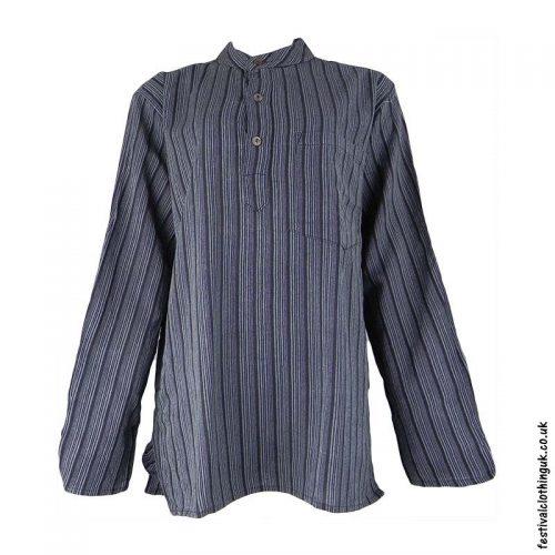 Striped-Collarless-Festival-Grandad-Shirt-Charcoal